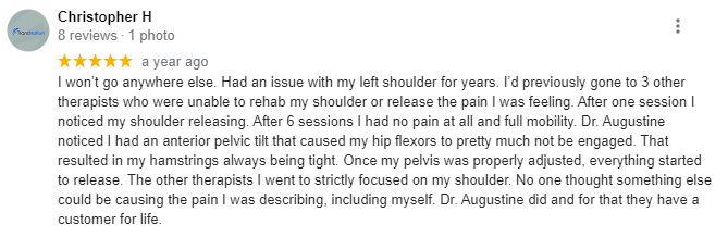 Chiropractic Sarasota FL Patient Testimonial at Augustine Chiropractic Offices - Sarasota
