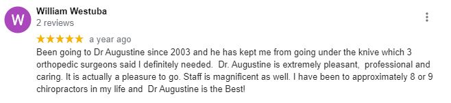 Chiropractic Tampa FL Patient Testimonial at Augustine Chiropractic Offices - Tampa